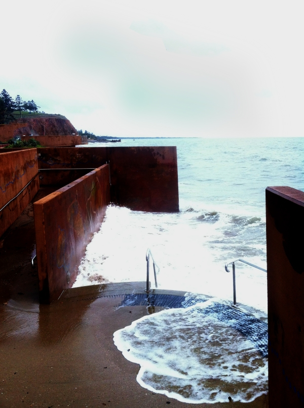 The main steps to Yeppoon Beach on the king tide