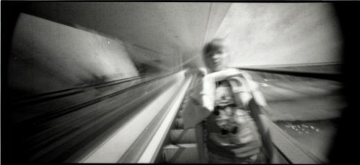 pibhole camera up the escalator
